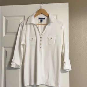 Karen Scott, White polo shirt.  PL